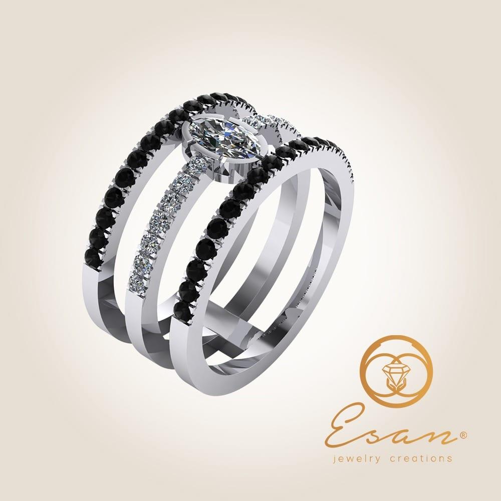 Inel din aur alb cu diamante si diamante negre
