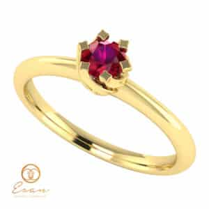 Inel de logodna solitaire cu rubin din aur ES1