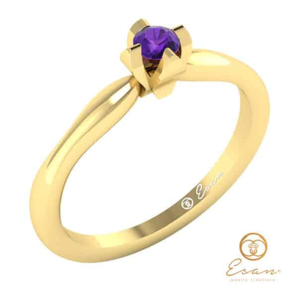inel de logodna cu ametist solitaire ES10-G