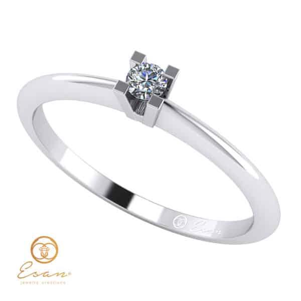 inel de logodna solitaire din aur cu diamant ES13