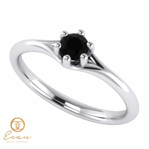 inel de logodna din aur cu diamant negru