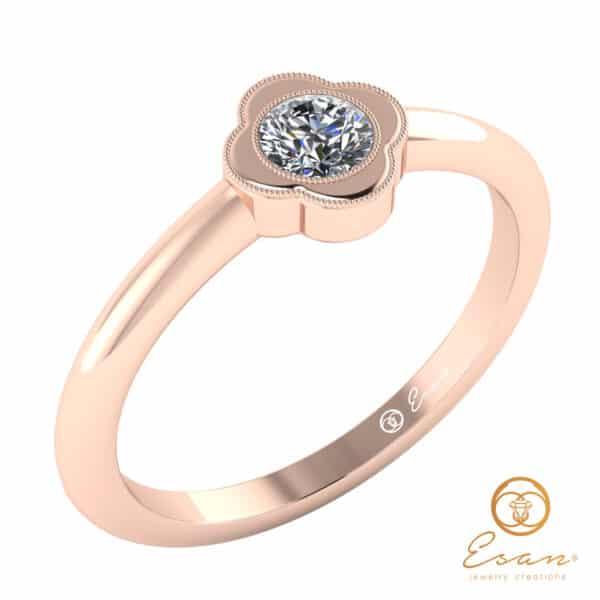 Inel de logodna din aur roz cu diamant