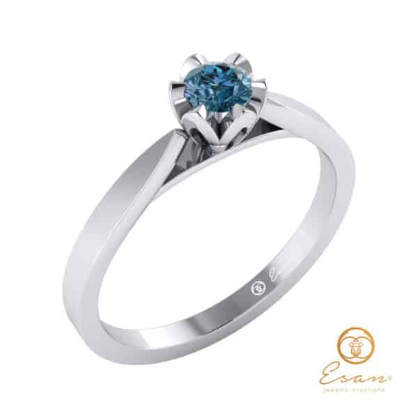 inel de logodna solitaire din aur cu diamant albastru ES55-A