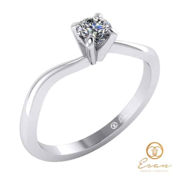 inel de logodna solitaire din aur cu diamant ES11
