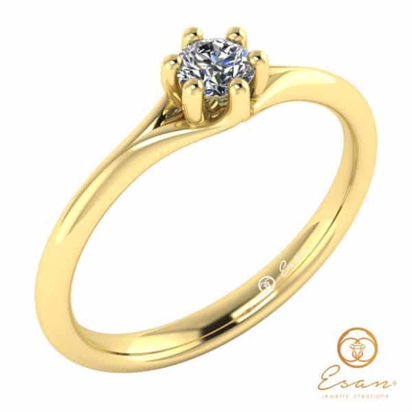 inel de logodna solitaire din aur cu diamant ES14