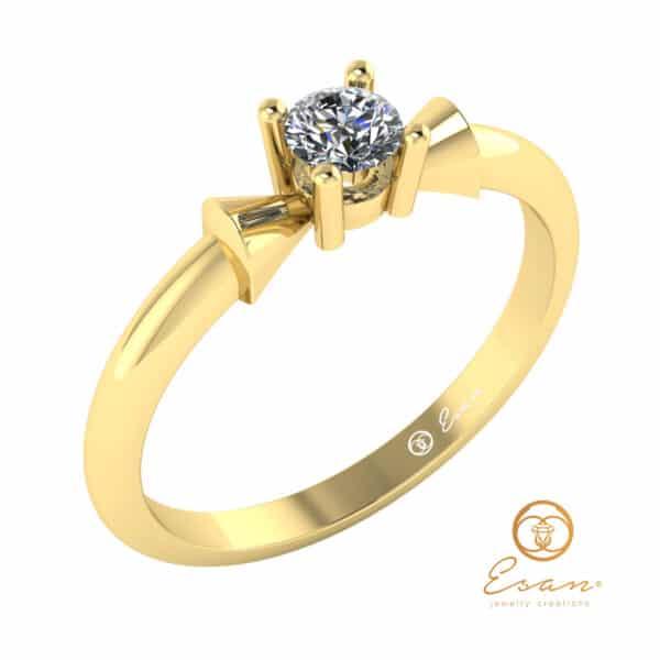 inel de logodna solitaire din aur cu diamant ES26