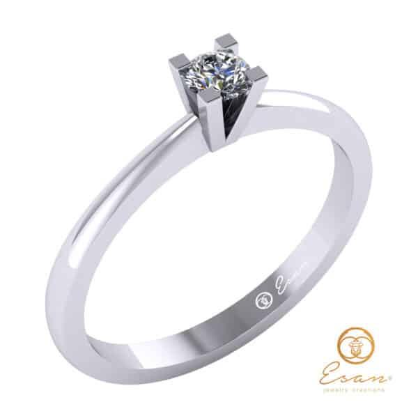 inel de logodna solitaire din aur cu diamant ES31