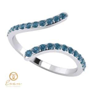Inel de logodna din aur cu diamante albastre ES63