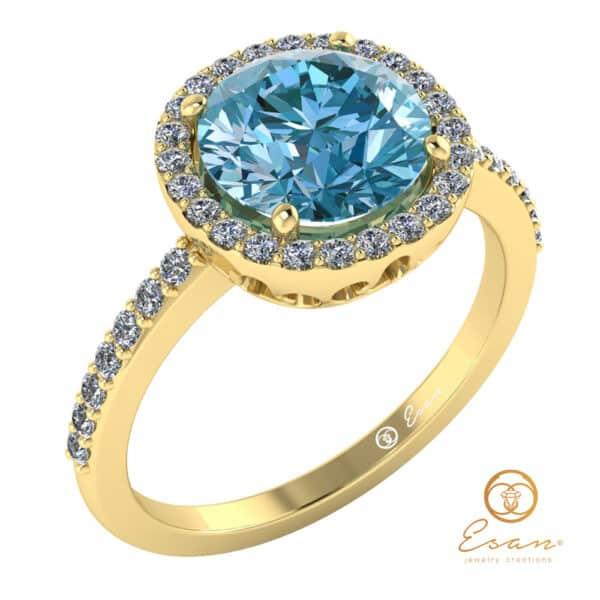 Inel de logodna din aur cu aquamarin ES147