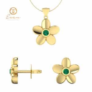 Set pandantiv si cercei din aur cu smarald model floral ESS1