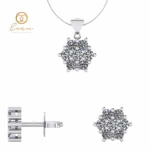 Set cercei si pandantiv cu diamante
