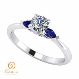 Inel de logodna din aur cu safire si diamant ES133