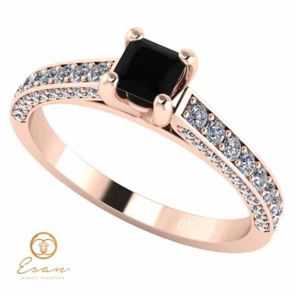 Inel de logodna din aur cu diamant negru si diamante es135