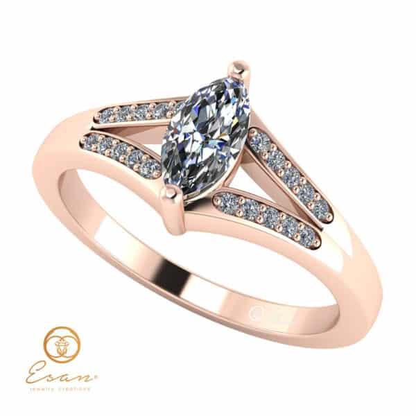 Inel de logodna cu diamant marquise si diamante