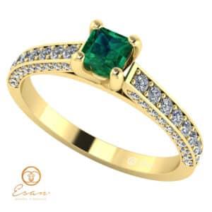 Inel de logodna din aur cu smarald si diamante ES135