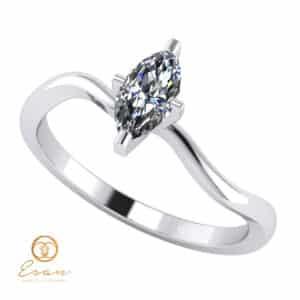 Inel din aur alb cu diamant marquise incolor ES141