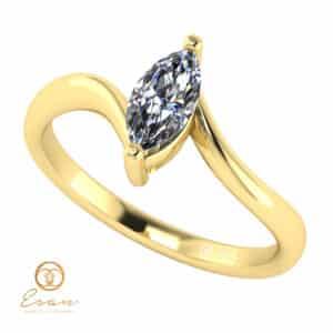 Inel de logodna din aur 14k cu diamant marquise ES142