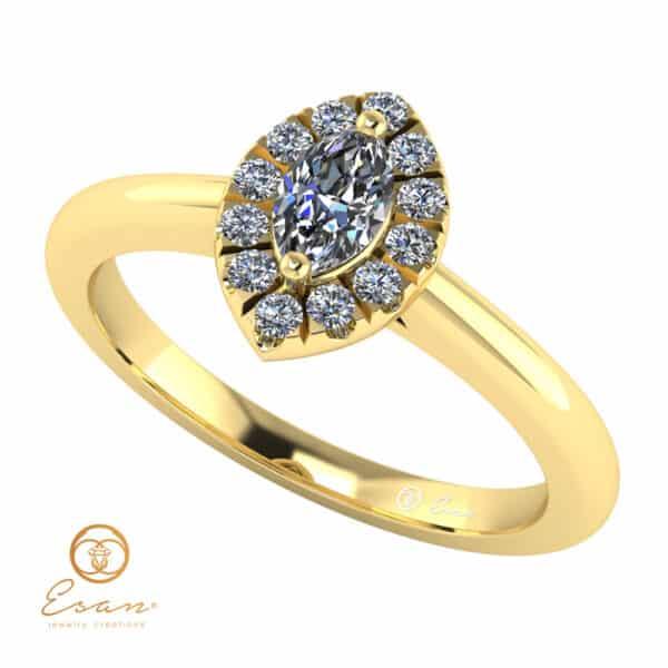 de logodna din aur cu diamante si diamant marquise ES144