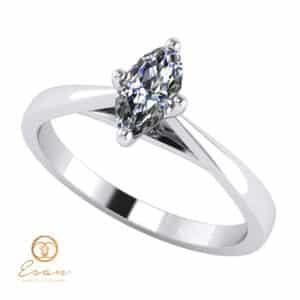 Inel de logodna din aur alb cu diamant marquise ES151