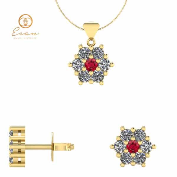 Cercei si pandantiv din aur cu rubin si diamante ESS2