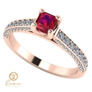 Inel de logodna din aur cu rubin si diamante ES135