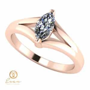 Inel de logodna din aur cu diamant marquise model solitaire ES140