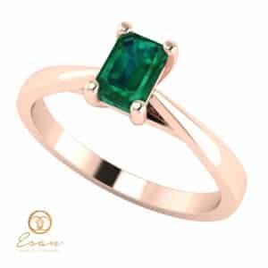 Inel de logodna din aur cu smarald natural model solitaire ES149