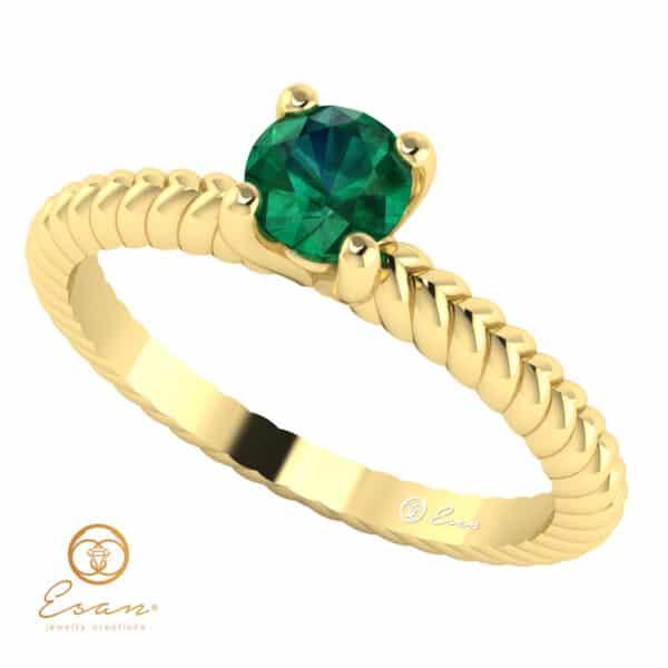 Inel de logodna din aur cu smarald ES132