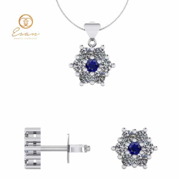 Cercei si pandantiv din aur cu safir si diamante ESS2