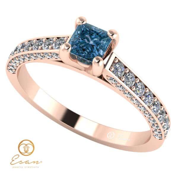 de logodna din aur cu diamant albastru patrat si diamante