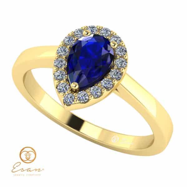 Inel de logodna din aur cu safir si diamante ES145