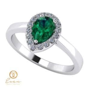 Inel de logodna din aur cu smarald si diamante ES145