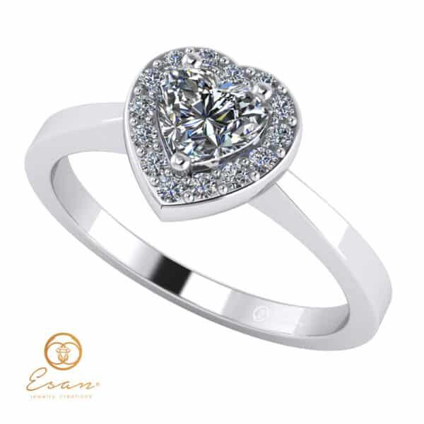 Inel de logodna din aur cu diamant inima