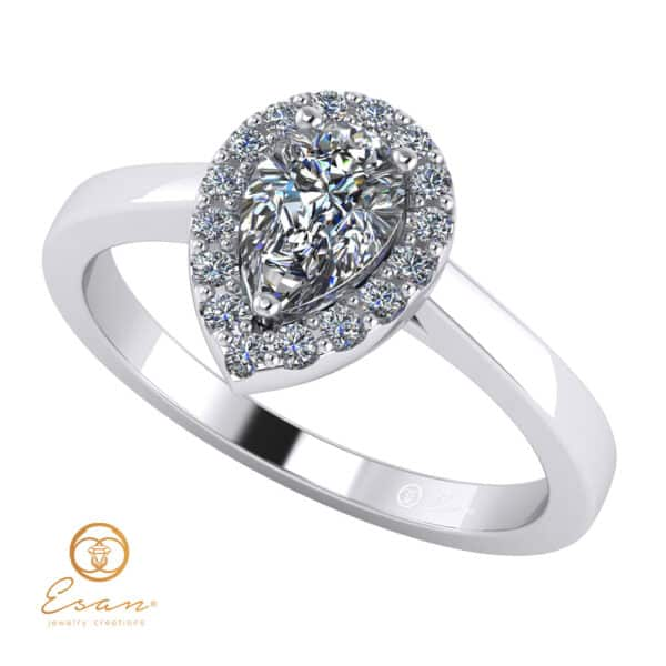 Inel de logodna cu diamant lacrima si diamante