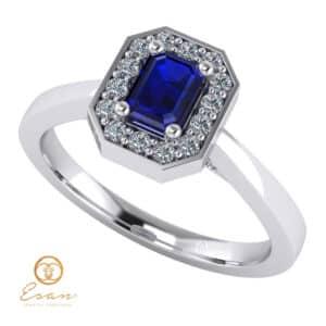 Inel de logodna din aur cu safir si diamante ES150