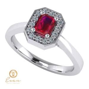Inel de logodna din aur cu rubin si diamante ES150