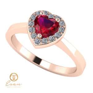 Inel de logodna din aur cu rubin si diamante ES146
