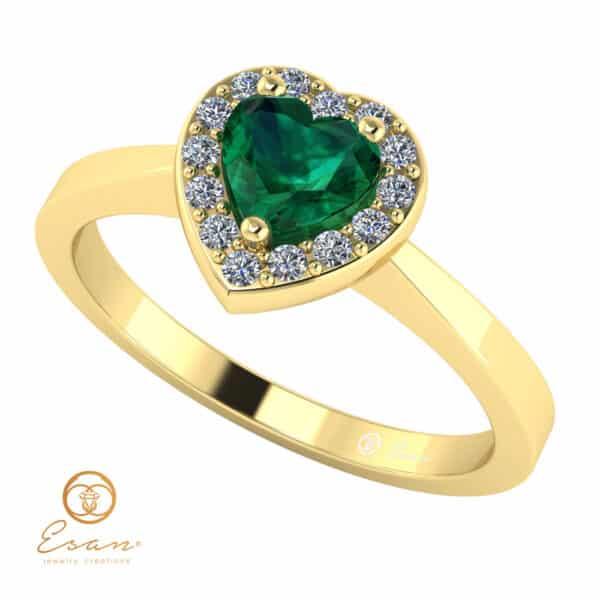 Inel de logodna din aur cu smarald si diamante ES146