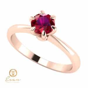 Inel de logodna din aur cu rubin ES139