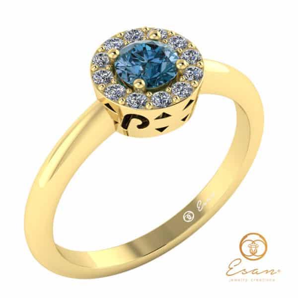 inel din aur cu diamant albastru si diamante ES121