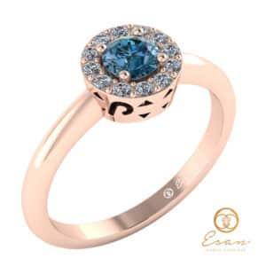 inel din aur cu diamant albastru si diamante