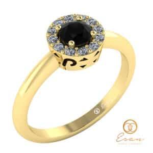 inel din aur cu diamant negru diamante