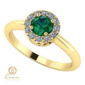 Inel de logodna din aur cu smarald si diamante ES121