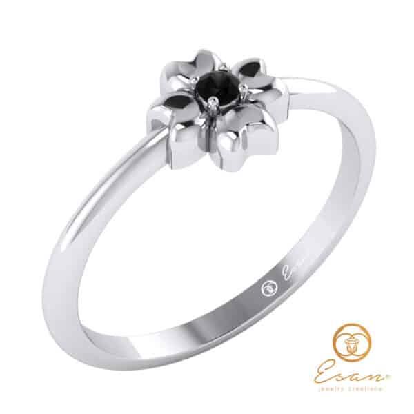 "Inel -""logodna""-cu-diamant*-negru-ES4"