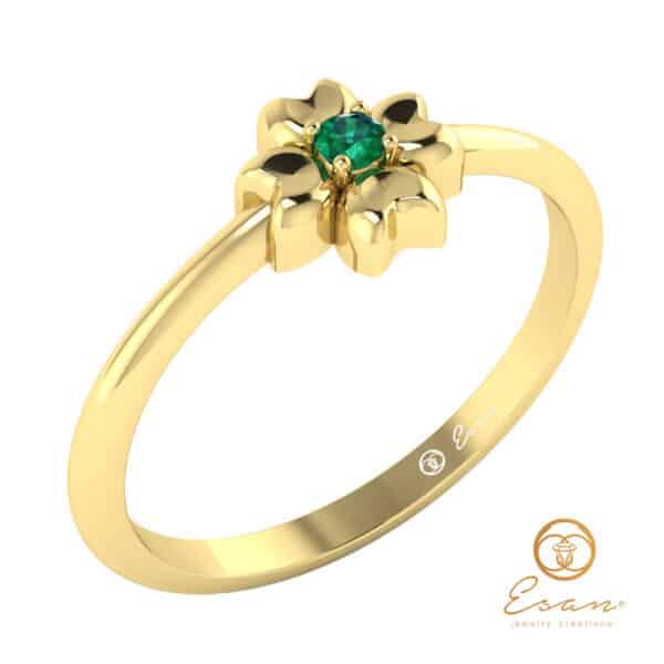  Inel de logodna din aur cu smarald -ES4
