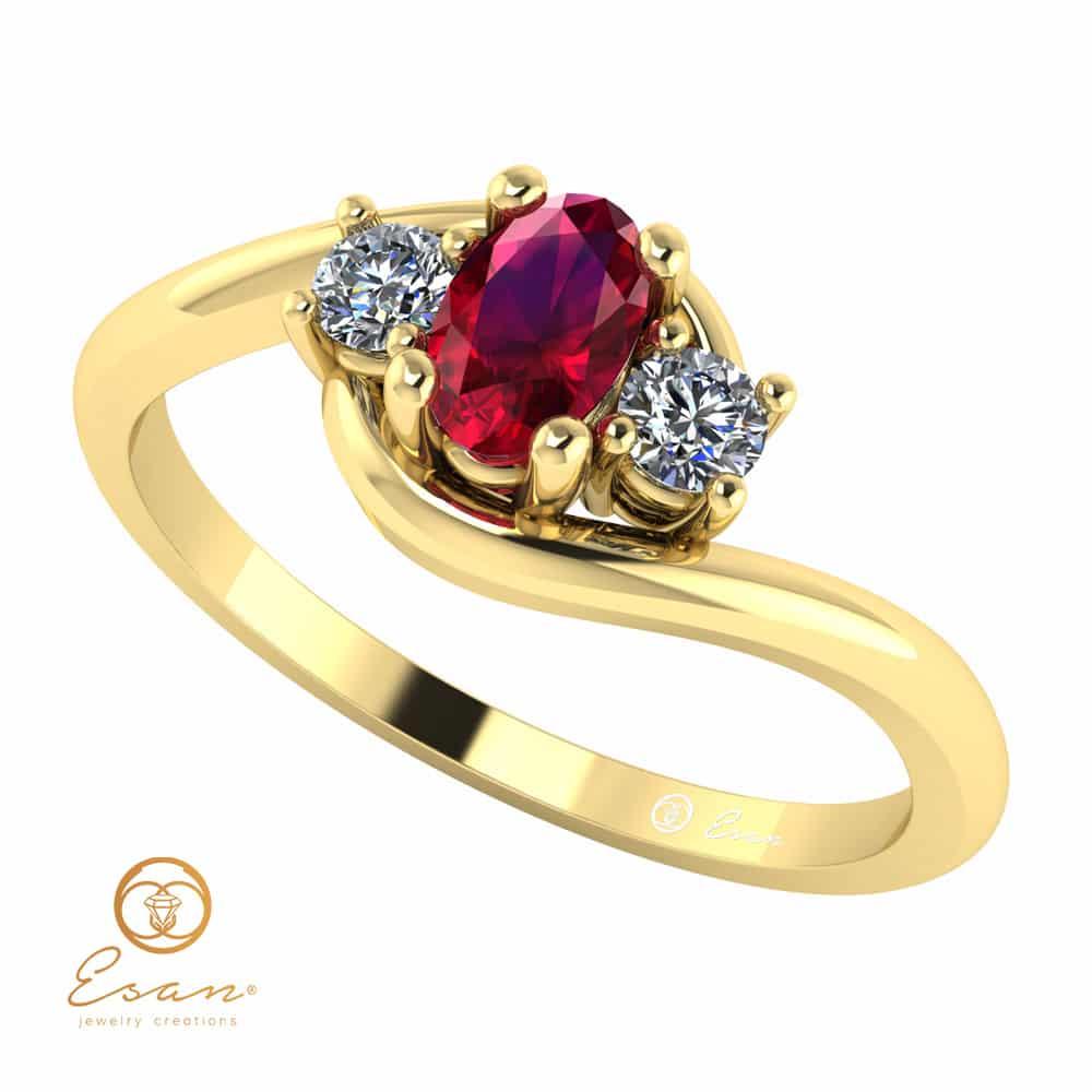 Es Inel Logodna Aur Diamante Rubin