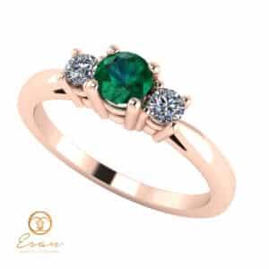 Inel de logodna din aur cu smarald si diamante ES82