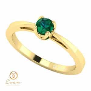 Inel de logodna din aur cu smarald solitaire