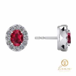 Cercei cu rubin si diamante ESC6