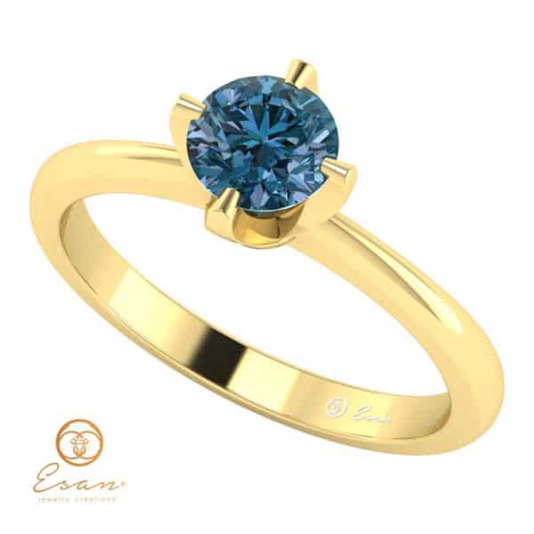 Einel de logodna din aur cu diamant albastru ES137-G